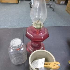 Lot # 18 - Vintage Oil Hurricane Lamp, Older Jar, Crock & Bean Spoon