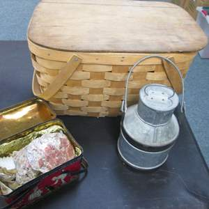 Lot # 24 - Picnic Basket + Tin Containers & Sea Shells