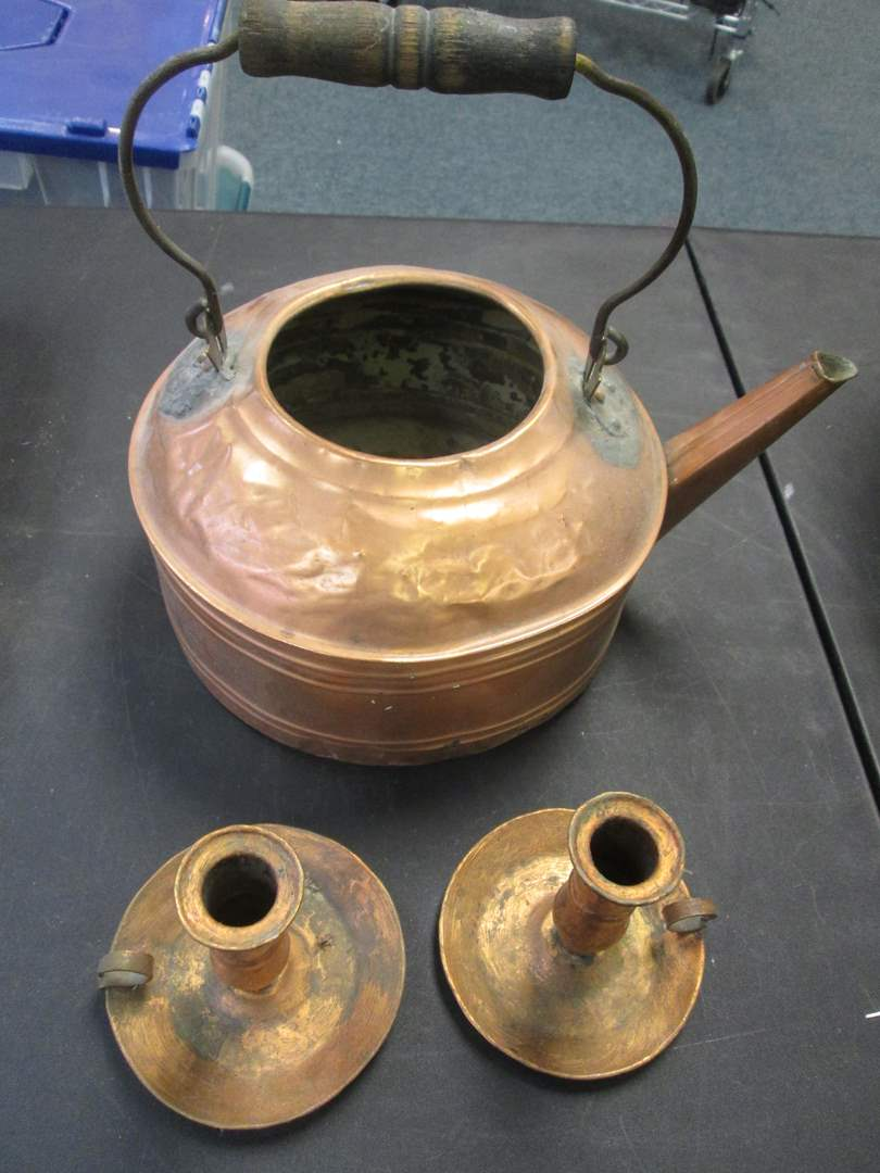 Lot # 32 - Copper Kettle & Pair of Candle Holders (main image)