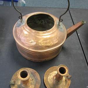 Lot # 32 - Copper Kettle & Pair of Candle Holders