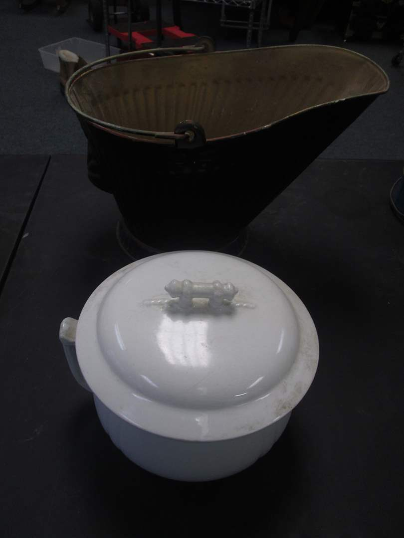 Lot # 34 - Vintage Covered Chamber Pot & Coal Scuttle (main image)