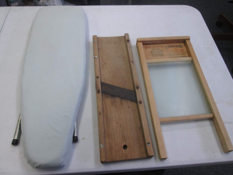 Lot # 42 - Vintage Washboard & Cabbage Slicer + Ironing Board (main image)