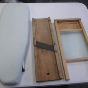 Lot # 42 - Vintage Washboard & Cabbage Slicer + Ironing Board