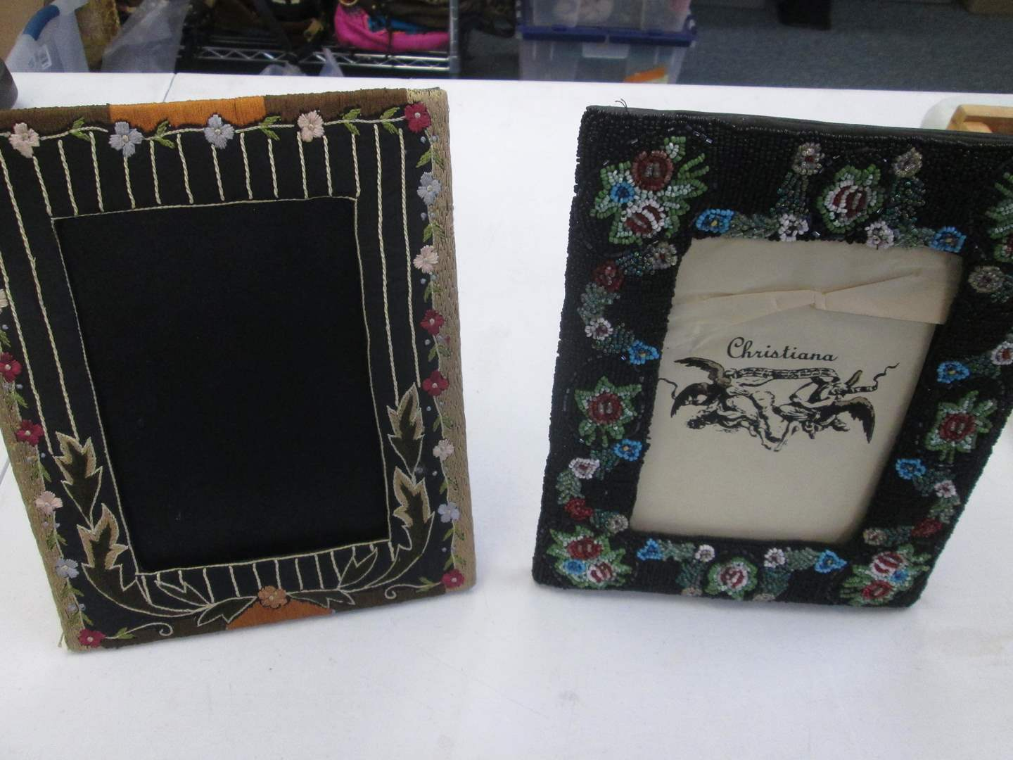 """Lot # 48 - 2-Beaded Picture Frames by Artist Christiana, 7"""" x 9"""" (main image)"""