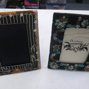 """Lot # 48 - 2-Beaded Picture Frames by Artist Christiana, 7"""" x 9"""""""
