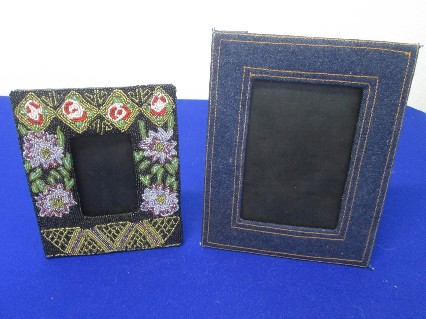 """Lot # 49 - 2-Artist Christiana Beaded & Levi Fabric-Wrapped Picture Frames, 7"""" X 10"""" & 6"""" X 8"""" (main image)"""