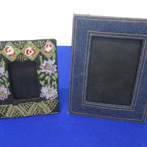 """Lot # 49 - 2-Artist Christiana Beaded & Levi Fabric-Wrapped Picture Frames, 7"""" X 10"""" & 6"""" X 8"""""""