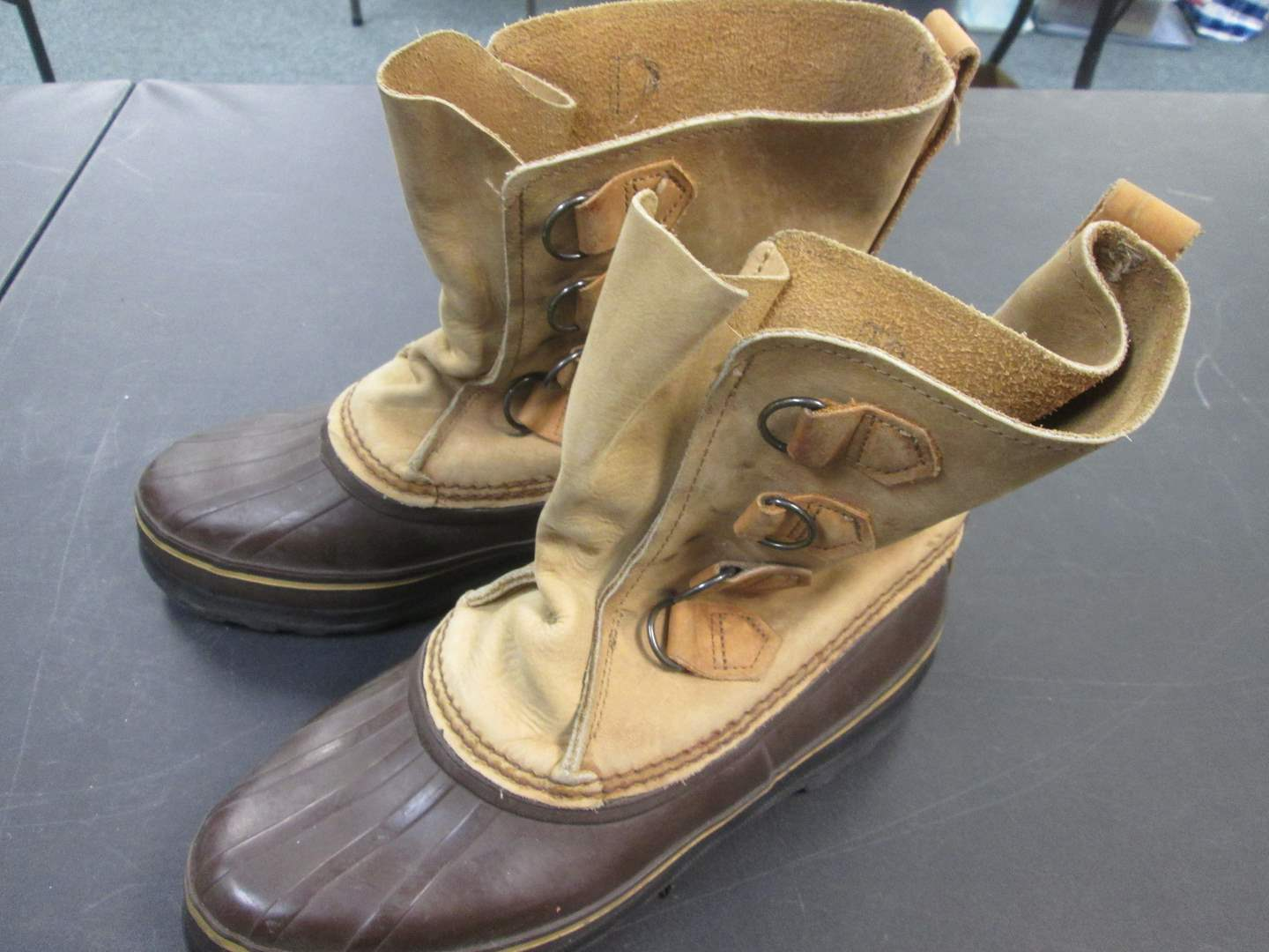 Lot # 56 - Sorel Iconic Hand Crafted Boots, Leather, Waterproof, Made Canada.  Need Liners! (main image)