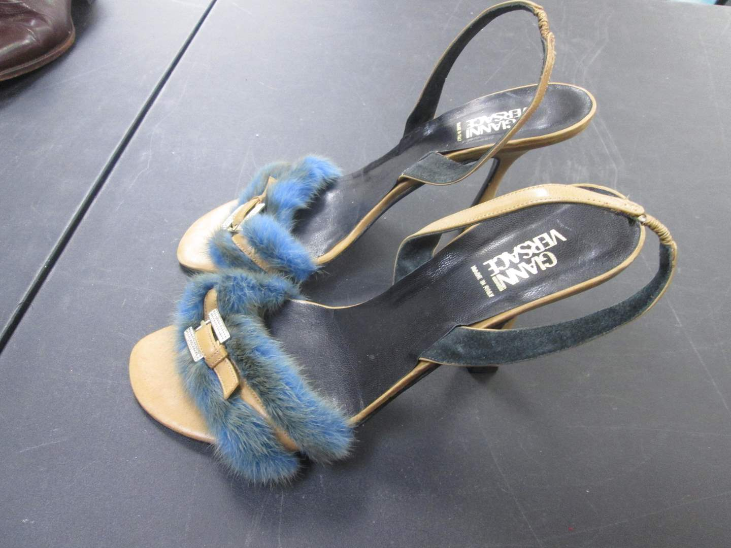 Lot # 59 - Gianni Versace Fur-Trimmed Heels, Italy Size 39 (main image)