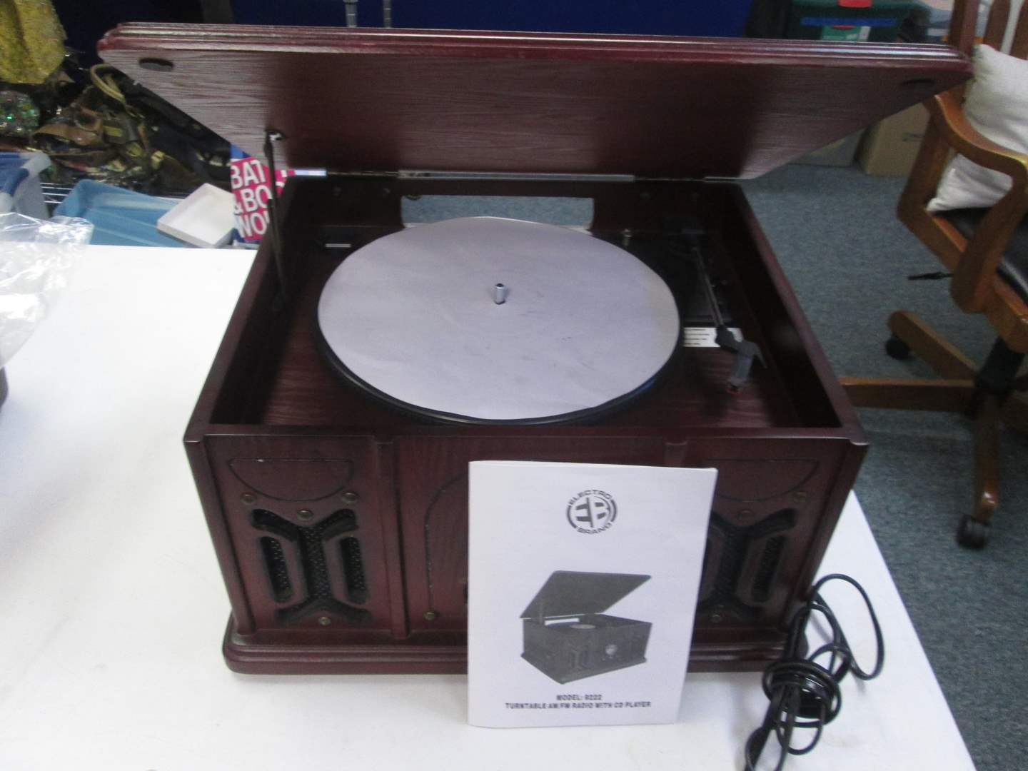Lot # 74 - Electro Brand #9222, Turntable/Radio/CD (CD not working correctly) (main image)