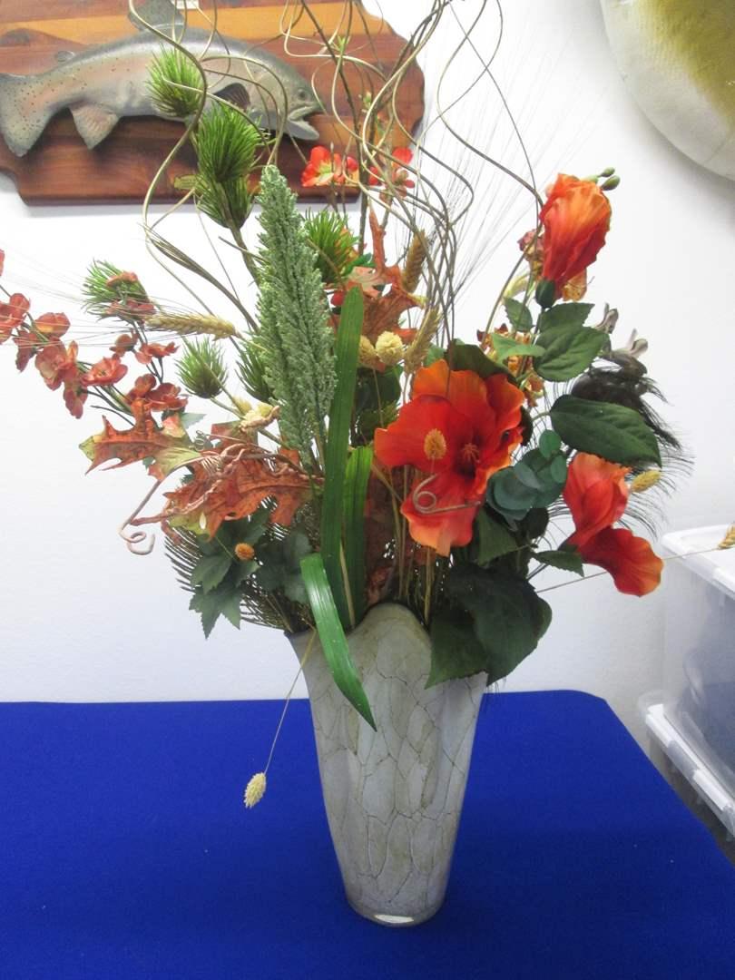 "Lot # 79 - 13"" Jozefina Handblown Art Glass Vase with Florals, Poland (main image)"