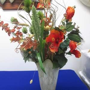 "Lot # 79 - 13"" Jozefina Handblown Art Glass Vase with Florals, Poland"