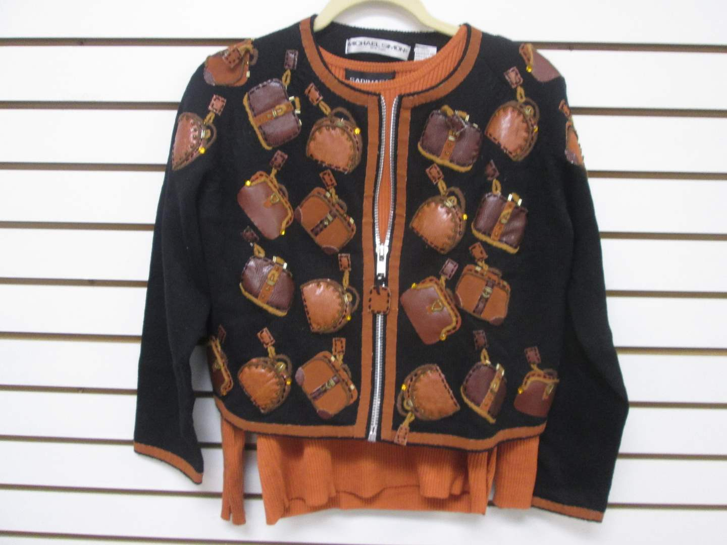 Lot # 87 - 2-Designer-Label Sweaters, Novelty with Zipper & Silk Pull-Over (main image)