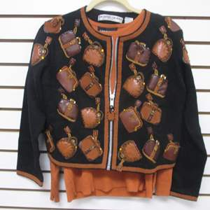 Lot # 87 - 2-Designer-Label Sweaters, Novelty with Zipper & Silk Pull-Over