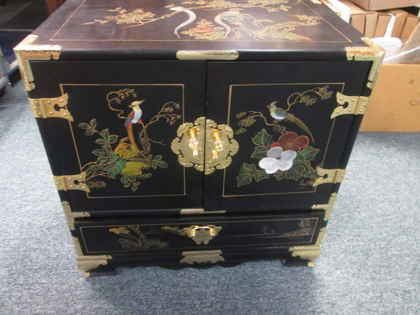 Lot # 96 - Asian-Style Chest, Lacquered & Painted Details & Brass Hardware (main image)