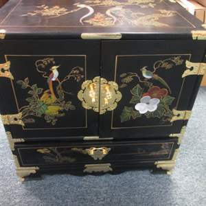 Lot # 96 - Asian-Style Chest, Lacquered & Painted Details & Brass Hardware