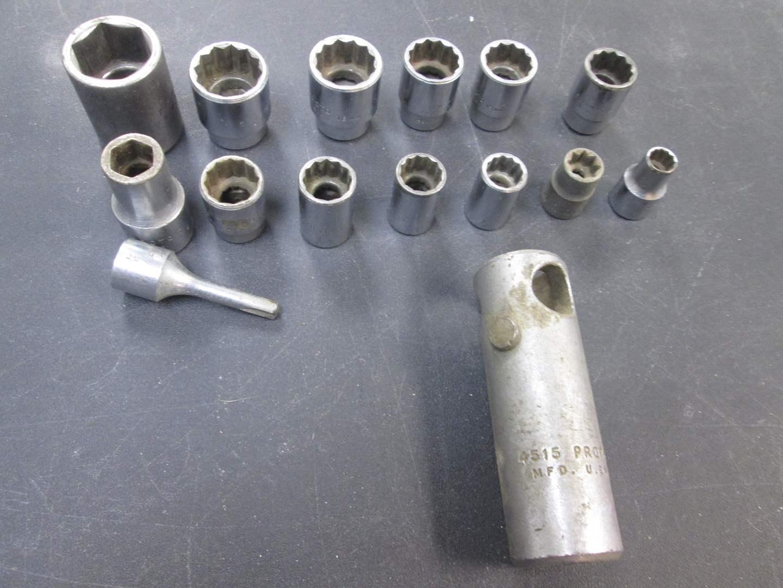 Lot # 100 - 13-Pieces Proto Sockets, 13/16 & mm (main image)