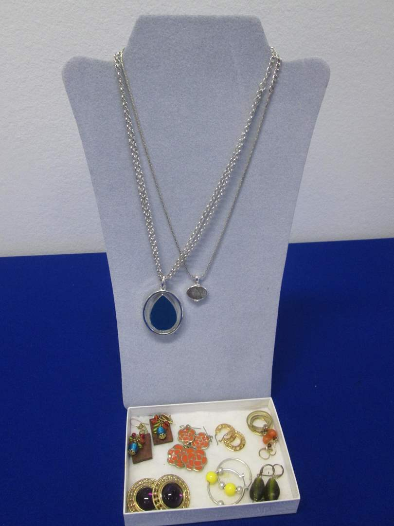 Lot # 118 - 7-Pair Earrings & 2-Necklaces, Costume Jewelry (main image)