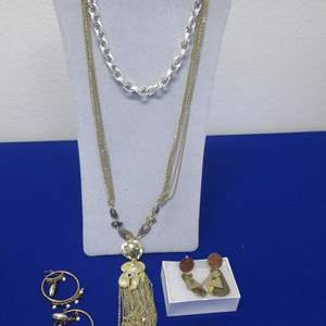 Lot # 120 - 2-Necklaces & 2-Pair Earrings, Costume Jewelry