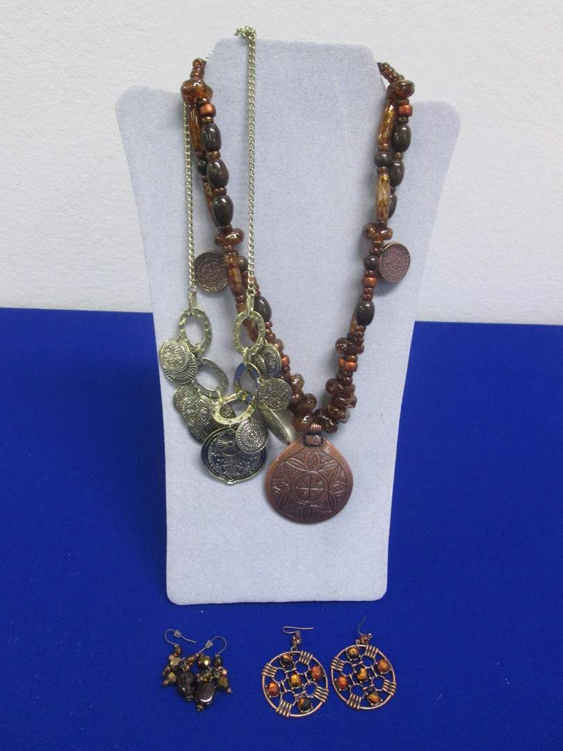 Lot # 138 - 2-Pair Earrings & 2-Necklaces, All Costume (main image)