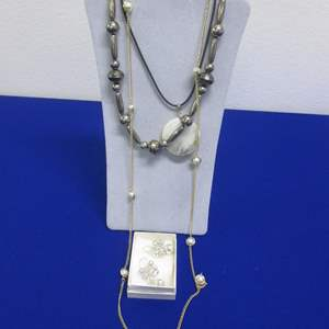Lot # 126 - Costume Jewelry, 3-Necklaces & 1-Pair Earrings