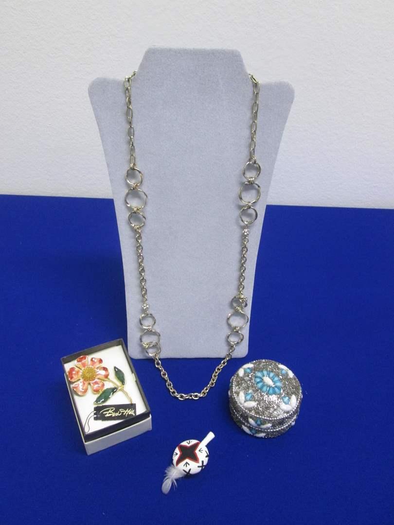 Lot # 149 - Costume Necklace, 2-Pins & Treasure Box  (main image)