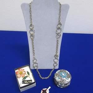 Lot # 149 - Costume Necklace, 2-Pins & Treasure Box