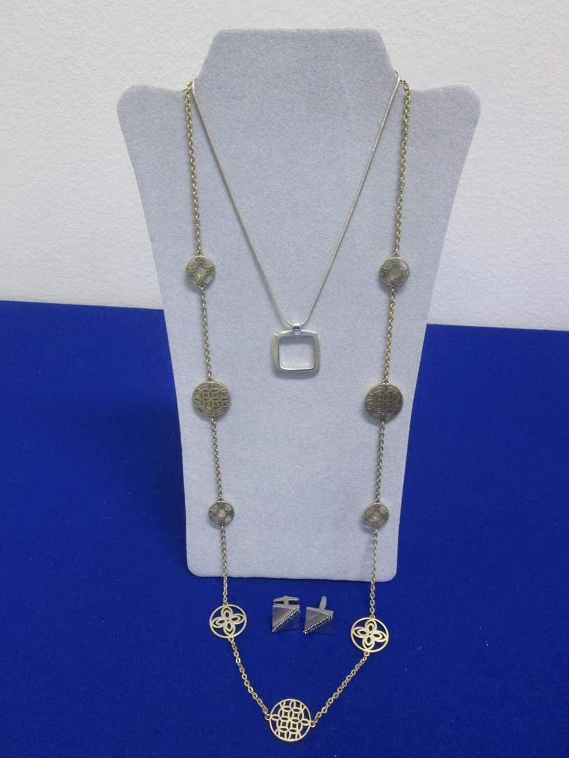 Lot # 150 - 2-Costume Necklaces & Cufflinks  (main image)