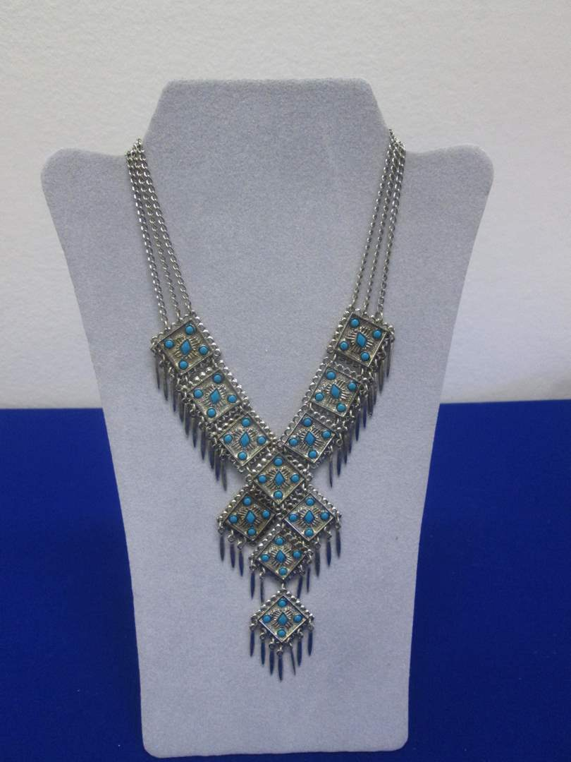 Lot # 151- Tribal Turquoise & Silver Colored Necklace (main image)