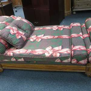 Lot # 17 - Chaise Lounge, Carved Detailed Framework & Patterned Fabric