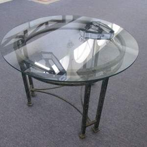 """Lot # 21 - 36"""" Round Glass-Top Table with Verdigris-Finish Frame"""
