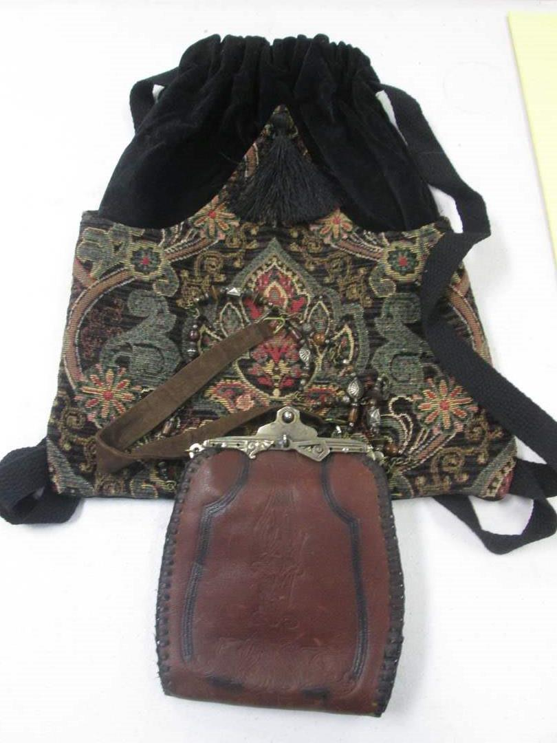 Lot # 36 - Pipers Crossing Vintage Drawstring Purse + Leather Stitched Pouch Metal Frame & Chain (main image)