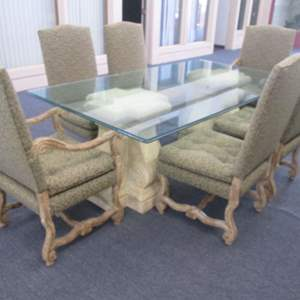 """Lot # 39 - 84"""" Dining Table on Pedestals/6-Upholstered Chairs, Antiqued Finish & Carved Frames"""