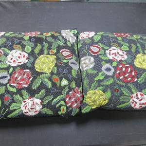"Lot # 44 - 2-Beaded Throw Pillows by Artist Christiana, 15"" X 15"""