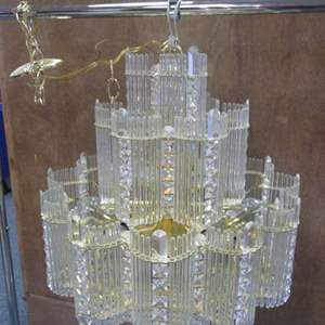 """Lot # 45 - 21"""" X 24"""" Modern-Style Crystal & Gold Multi-Tier Chandelier, all crystals are in place!"""