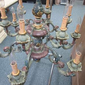 Lot # 47 - 10-Arm,Candle-Style Chandelier, Verdigris Finish & Red Tones