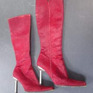 Lot # 62 - Giuseppe Zanotti Red Suede? Boots, Italy, Size 38