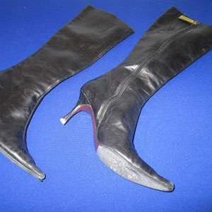 Lot # 63 - Vero Cuoio Black Boots, Very Soft Leather, Italy, Size 38 1/2