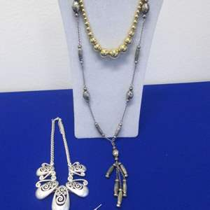Lot # 115 - 3-Costume Jewelry Necklaces & 1-Pair Earrings