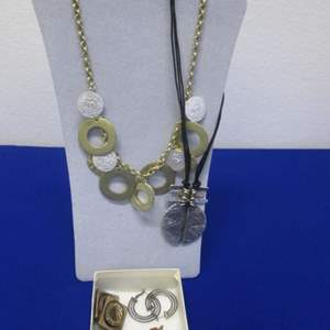 Lot # 125 - 2-Necklaces & 3-Pair Earrings, Costume Jewelry