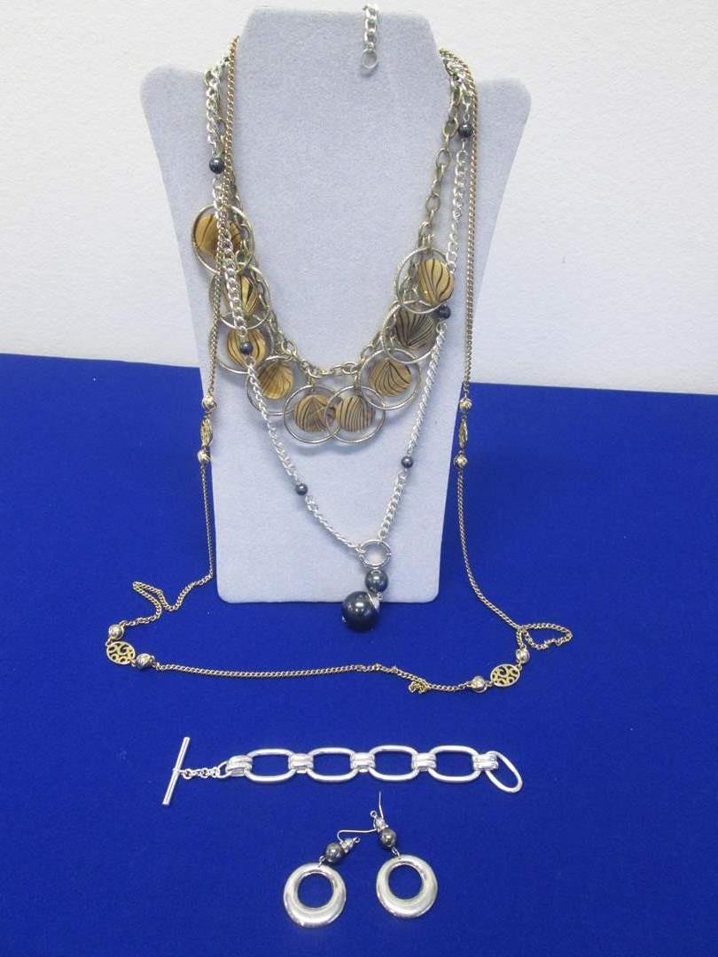 Lot # 129 - 3-Necklaces, Bracelet & 1-Pair Earrings, All Costume Pieces (main image)