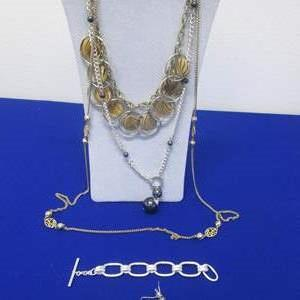 Lot # 129 - 3-Necklaces, Bracelet & 1-Pair Earrings, All Costume Pieces