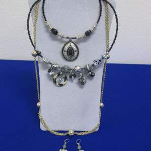 Lot # 135 - 3-Necklaces & 1-Pair Earrings, Costume Jewelry