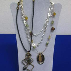 Lot # 142 - 3-Costume Jewelry Necklaces