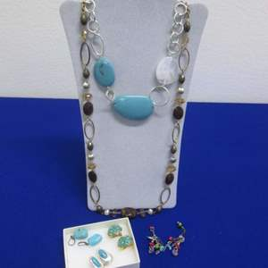 Lot # 147 - 2-Necklaces & 4-Pair Earrings, Turquoise-Color Costume Jewelry