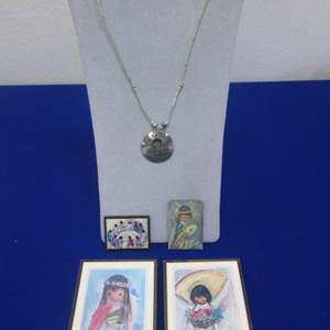Lot # 153 - DeGrazia Necklace, Magnets, Pictures