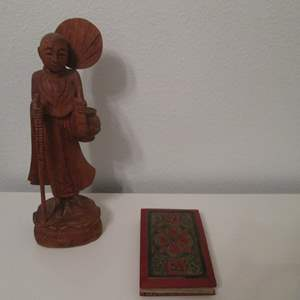 Lot # 36 - Asian-Style Hand Scroll & Sculpture