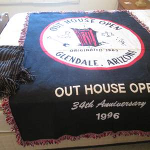 """Lot # 59 - """"Out House Open"""" Throws 1996 (2)"""