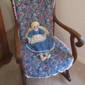Lot # 68 - Older Wood Rocking Chair, Pad & Doll