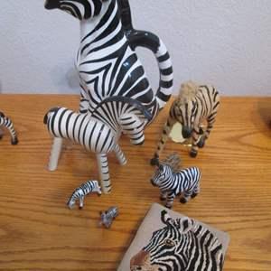 Lot # 87 - Zebra Textile, Pitcher & Sculptures, R.E.M.O Italy